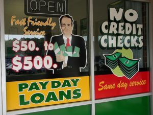 payday loans window sign
